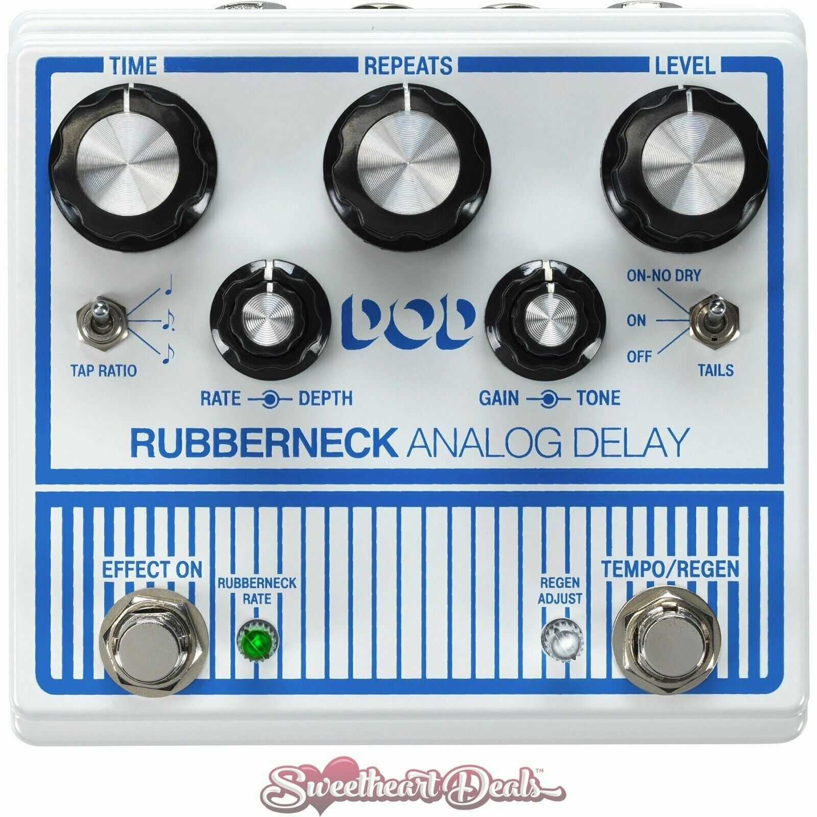 DOD Rubberneck Analog Delay Guitar Effect Pedal with Tap Tempo
