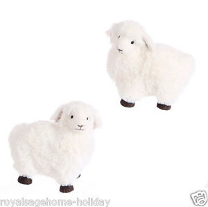 E3503401-RAZ-6-5-034-White-Fluffy-Lamb-Easter-Spring-Table-Decoration-Faux-Fur