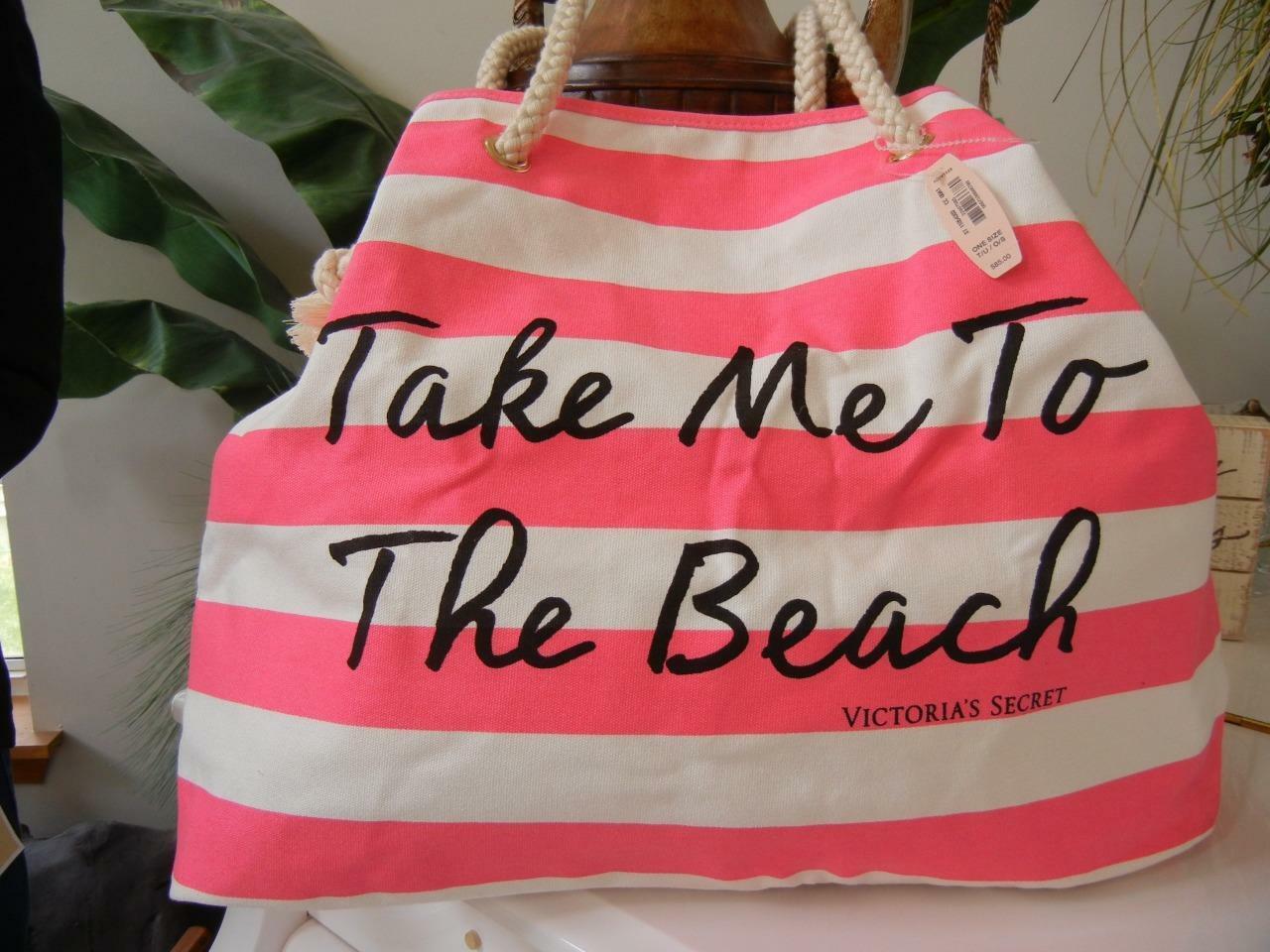 NWT VICTORIA SECRET TAKE ME TO THE BEACH PINK WHITE STRIPE CANVAS TOTE BAG