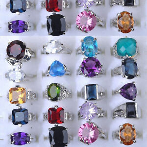 10-20Pcs-Wholesale-Jewelry-Mixed-Lots-Silver-Plated-CZ-Crystal-Rhinestone-Rings