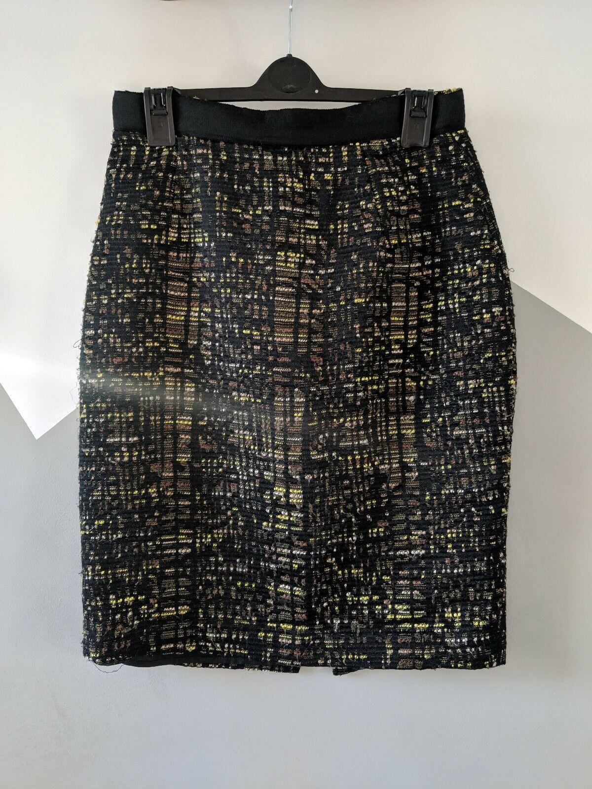 RUNWAY  CLEMENTS RIBEIRO Yellow Green Boucle Tweed High-Waist Pencil Skirt S