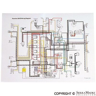 Full Color Wiring Diagram, Porsche 356C/SC (64-65) | eBayeBay