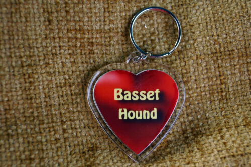 Basset Hound Keyring Dog Key Ring heart gift Birthday Gift Xmas Mothers Day Gift