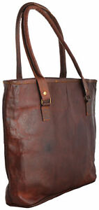 16-034-Women-Vintage-Looking-Genuine-Brown-Leather-Tote-Shoulder-Bag-Handmade-Purse