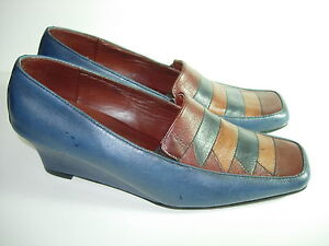 WOMENS-BLUE-BROWN-LEATHER-ARRIBA-COMFORT-LOAFERS-CAREER-HEELS-SHOES-SIZE-36-6-M