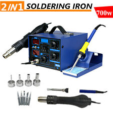 2 in 1 Soldering Rework Stations SMD Hot Air & Iron Desoldering Welder ESD 862D+