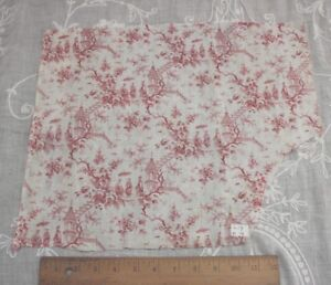 3-French-Antique-c1870-Printed-Chinoiserie-Cotton-Fabrics-Small-Scale-Motifs