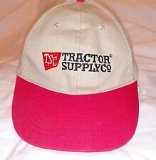 TSC Tractor Supply Co Brown Tan Red Baseball Cap Hat Adjustable Velcro Uniform