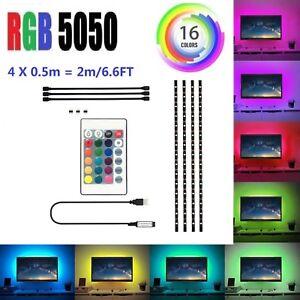 5V-USB-Flexible-LED-Tira-de-Luces-Multi-Color-5050-RGB-Impermeable-para-TV-Fondo