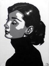 Pop Art Original Oil Painting by Terry P Wylde : Audrey Hepburn in Black