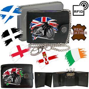Vintage Motorbike Motorcycle Biker Wallet Gift Accessory Leather RFID Chain Key