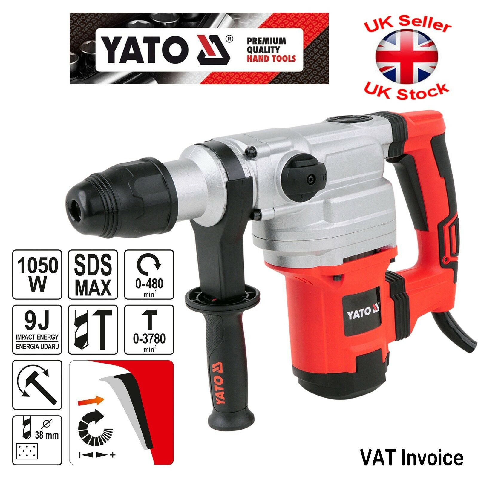 Yato Professional SDS Max Hammer Drill 1050W 9 Joule 3780pm YT-82130