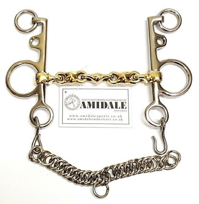Amidale Waterford PELHAM catena losanga di Rame Mix Tedesco argentoo Cavallo Bit
