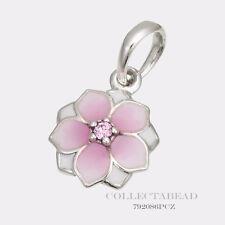 Authentic Pandora Sterling Silver Magnolia Bloom Enamel CZ Pendant  792086PCZ