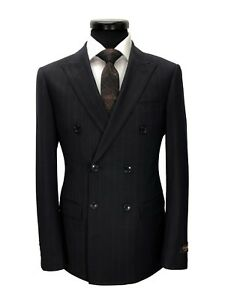 PAMONI-Dark-Brown-Pinstripe-Double-Breasted-Slim-Fit-Suit