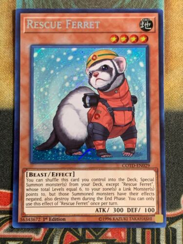 Yugioh Rescue Ferret COTD-EN029 Secret Rare 1st Edition