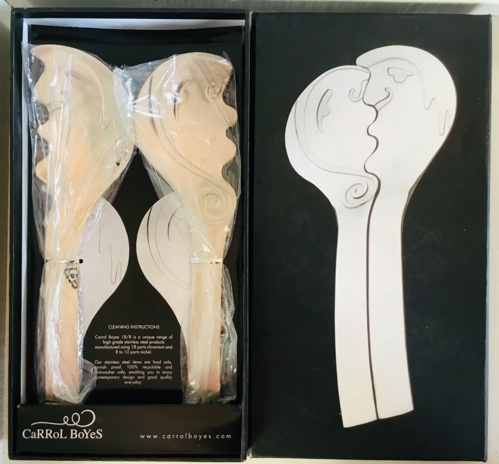 Carrol BOYES South African top Design Salad Servers KISS 18SS-KS NEW IN BOX