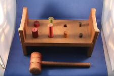 Vintage Toy Wooden Peg Pound with Hammer; US Patent 1848598