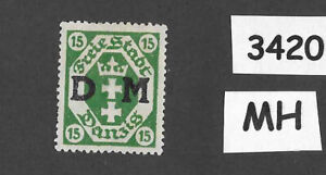 #3420  Danzig Germany MH Sc03  PF15 1921 Overprinted Official Free State Poland