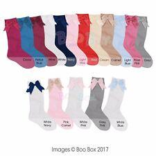 Baby Girls + Girls 3/4 Knee High Socks Satin Bow Ribbon Romany Spanish 0-6 Years