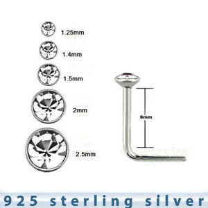 5pcs-22G-1-25mm-to-2-5mm-Flat-Clear-CZ-925-Sterling-Silver-L-Shaped-Nose-Stud