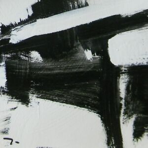 JOSE-TRUJILLO-Acrylic-Painting-9-034-Black-amp-White-ABSTRACT-ART-MODERNISM-DECOR