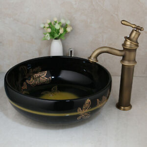 Round Ceramic Basin Bowl Vessel Sink With Antique Brass Taps Combo Overmount Ebay