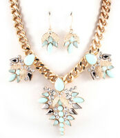 Elegant Mint Green & Gray Crystal Romantic Paris Floral Costume Necklace Set