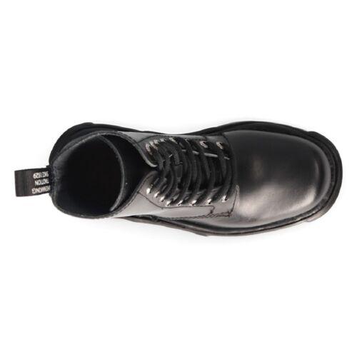 Nouveau Rock Mili 084N-S3 Noir Gothique Bottes Militaire Unisexe 8 trous Motard Chaussures Goth