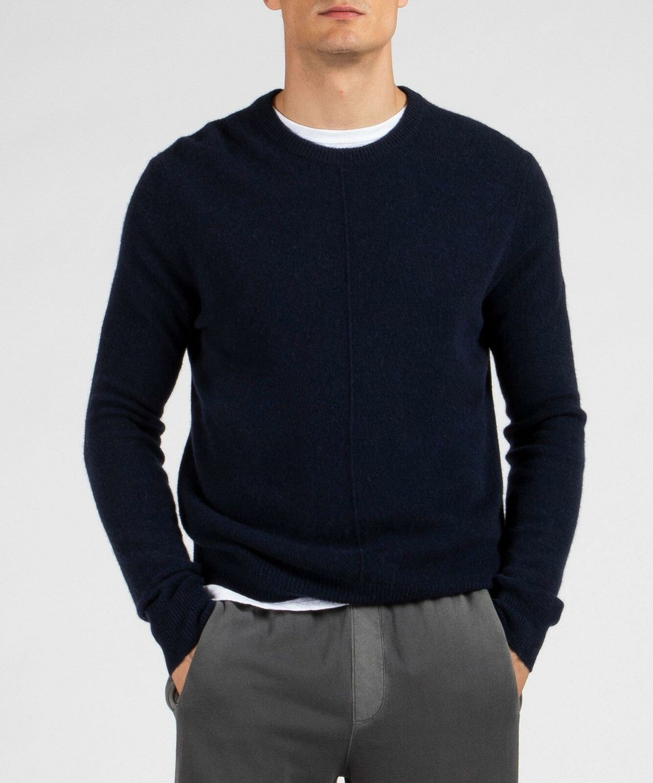 NEW ATM MIDNIGHT BLUE CASHMERE EXPOSED SEAM CREW NECK SWEATER SIZE 2XL
