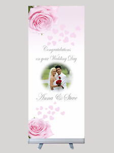 Image Is Loading Personalised Wedding Banner Stand Bespoke Unique With Your