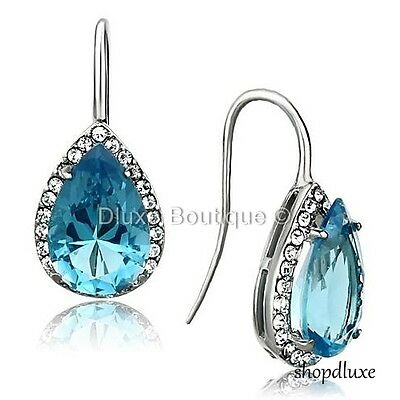 WOMEN'S 9.25 CT PEAR SHAPE AQUAMARINE CZ SILVER STAINLESS STEEL FASHION EARRINGS