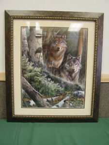 Lone Wolf Wood Framed Art Print Retired Home Interiors