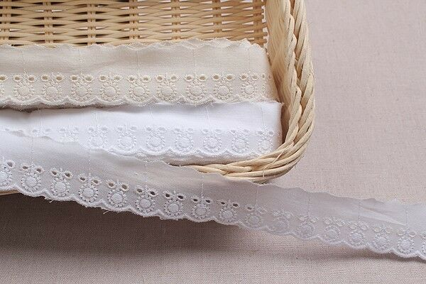 14Yds broderie anglaise vintage cotton eyelet lace trim 3cm YH120 laceking
