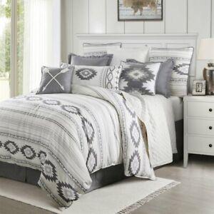 Free Spirit Grey Soft White Bohemian Country Farmhouse King 4 Piece Bed Set Ebay