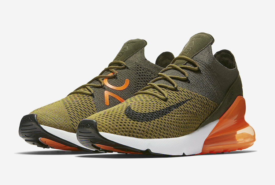 Men's Brand New Air Max 270 Flyknit  Olive orange  Fashion Sneakers