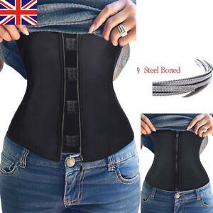 UK 9 Steel Boned Sport Latex Waist Trainer Zipper Body Shaper Zip Cincher Corset