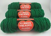 Red Heart Classic Crochet Knitting Yarn 3.5 Oz Paddy Green - Lot Of 3