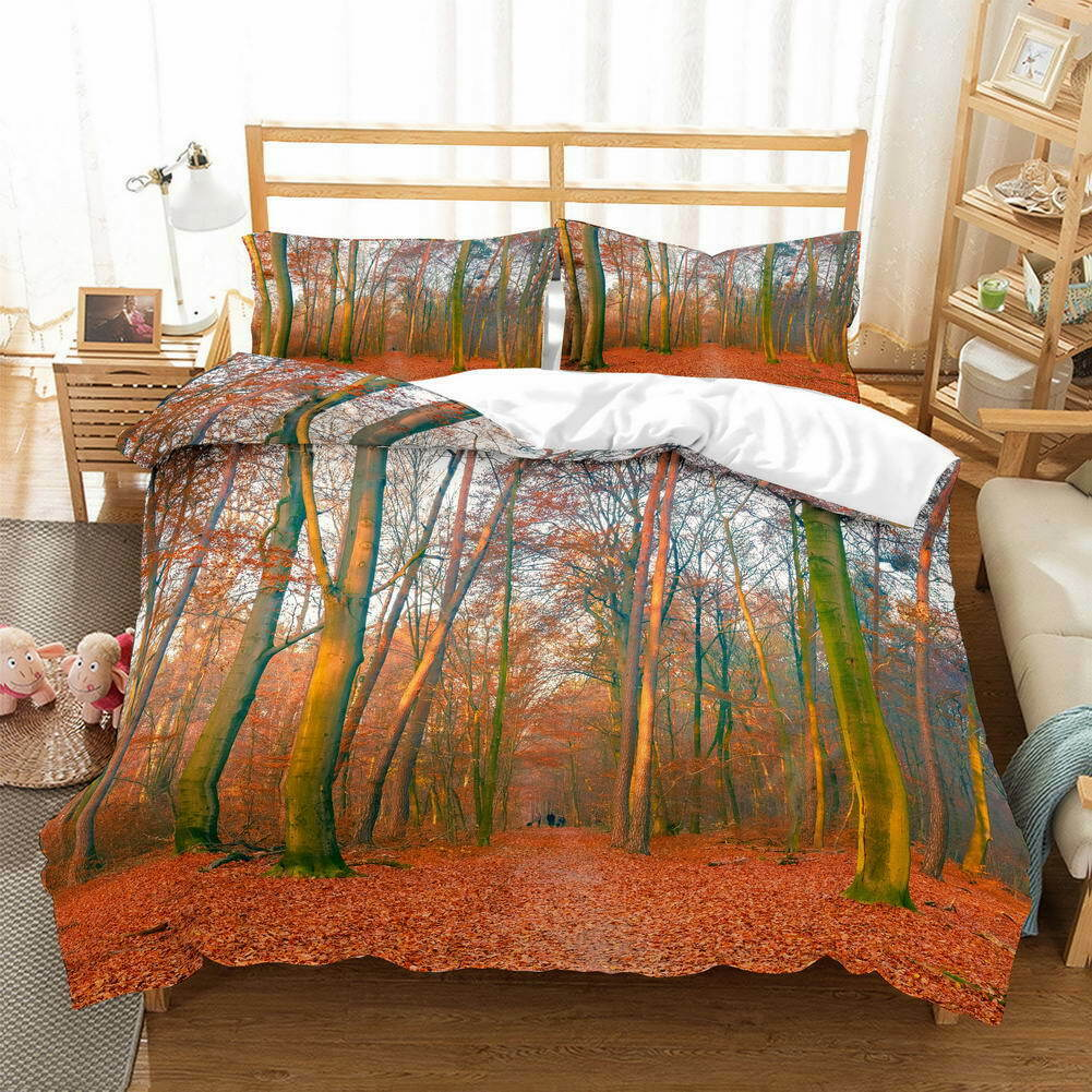 rosso Leaves Spread 3D Quilt Duvet Doona Cover Set Single Double Queen King Print