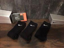 NEW Mens Nike Crew Socks LOWEST Price 3prs Cotton Black Authentic FREE Ship 8-12