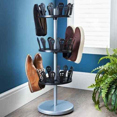 3 Niveaux 18 paires étagère à chaussures carrousel rotatif Organisateur Pantoufles Crocs économie d/'espace