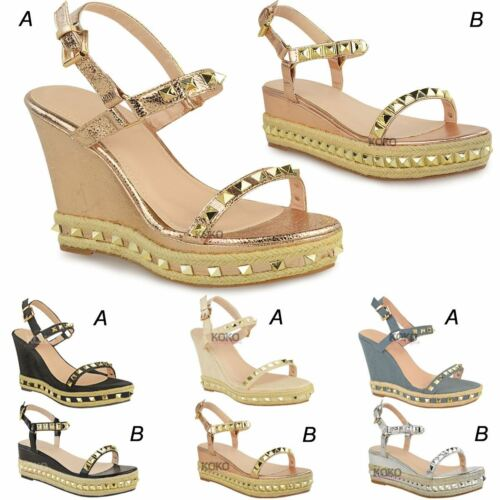 Womens Ladies Rose Gold Stud Wedge Summer Sandals Ankle Strap Platforms Shoes