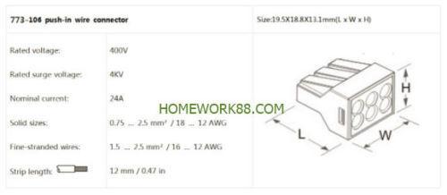 24A 18-12 GAUGE 6 POLE QUICK PUSH IN WIRE CONNECTORS 400V 1000 PCS