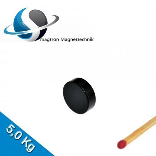 5 NEODYM MAGNETE Ø15x5 mm NdFeB N45 Scheibenmagnete Schwarz Epoxy