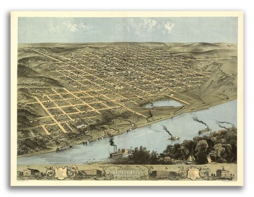 24x32 1868 Omaha Nebraska Vintage Old Panoramic City Map