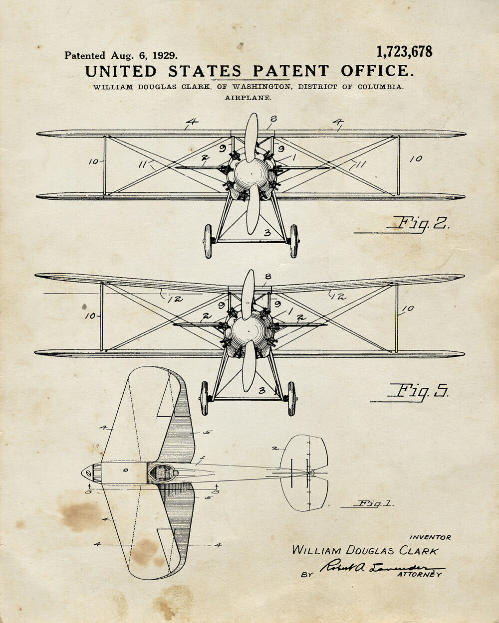 8723.Decorative Poster.Home room interior design wall.Invention patent.Airplane