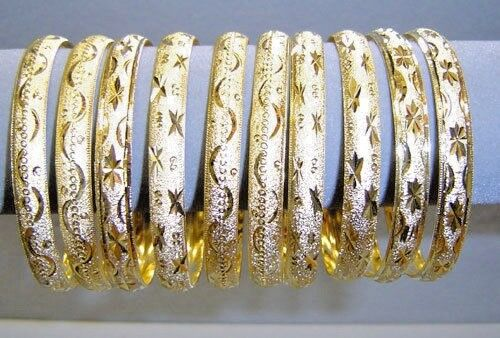 18K plaqué or Layered Diamond Cut Solid Fashion Chunky Bracelet Bracelets 10Pc