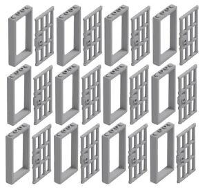 LEGO 20 NEW LIGHT BLUISH GRAY DOOR BAR 1 X 4 X 6 WITH END PROTRUSIONS PARTS