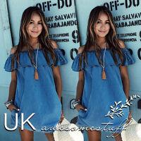 UK Womens Off Shoulder Holiday Dress Ladies Summer Beach Shift Dress Size 6-14