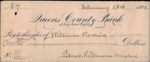 1892 Long Island City New York (NY) Queens County Bank Check to William Norris